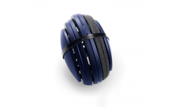 Product image of Brooks England bicycle helmet in blue wrapped in a rubber band