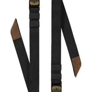 Product image of Oaks & Phoenix's Cam straps in black with brown leather
