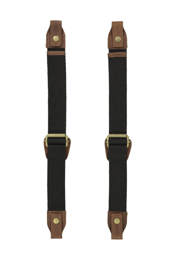 Product image of Oaks & Phoenix's content straps in black with brown leather