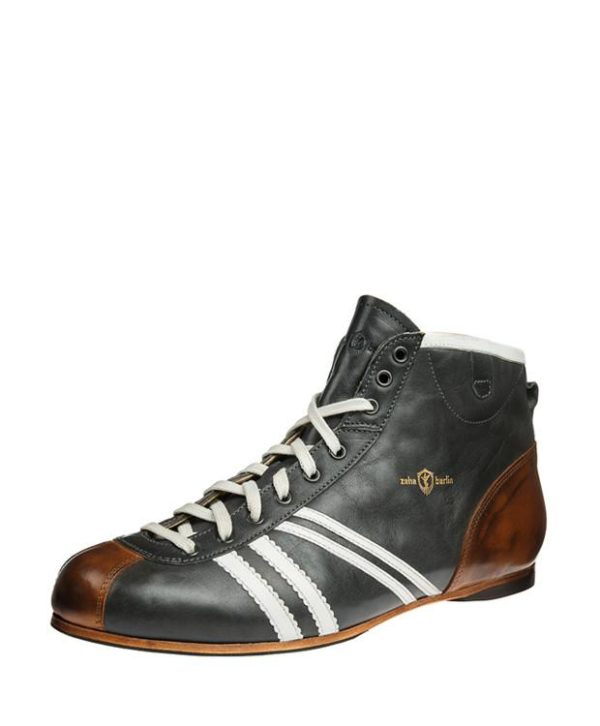 Product image from the front side of Zeha Berlin's Carl Häßner Derby in grey petrol