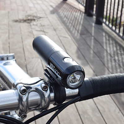 CATEYE's bicycle light Volt 400 attached to a bike