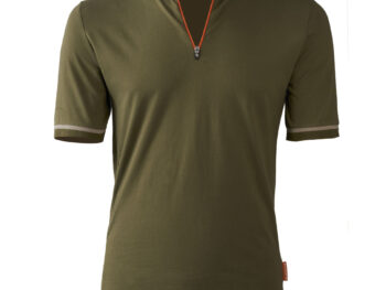 Bicyclette's Coureur bicycle shirt in Army green from the front
